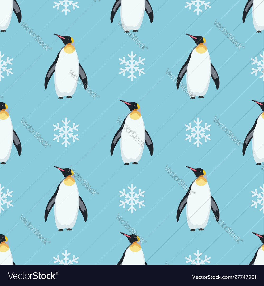 Seamless winter pattern with penguins and