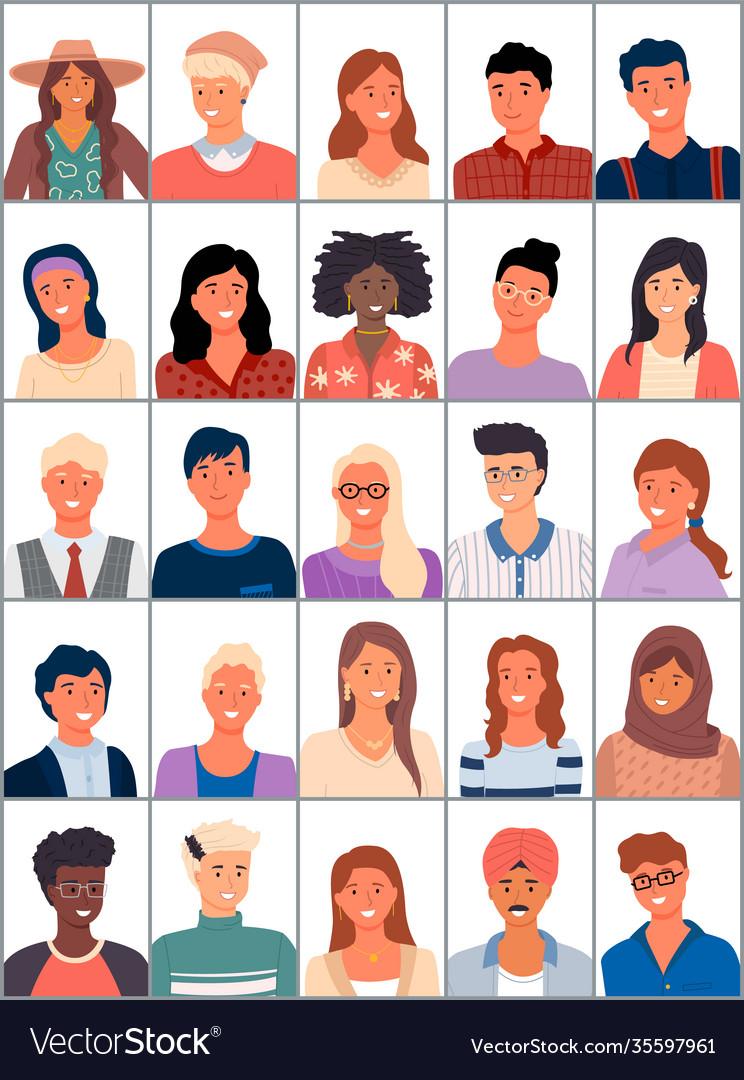 Set avatars in flat design positive avatars