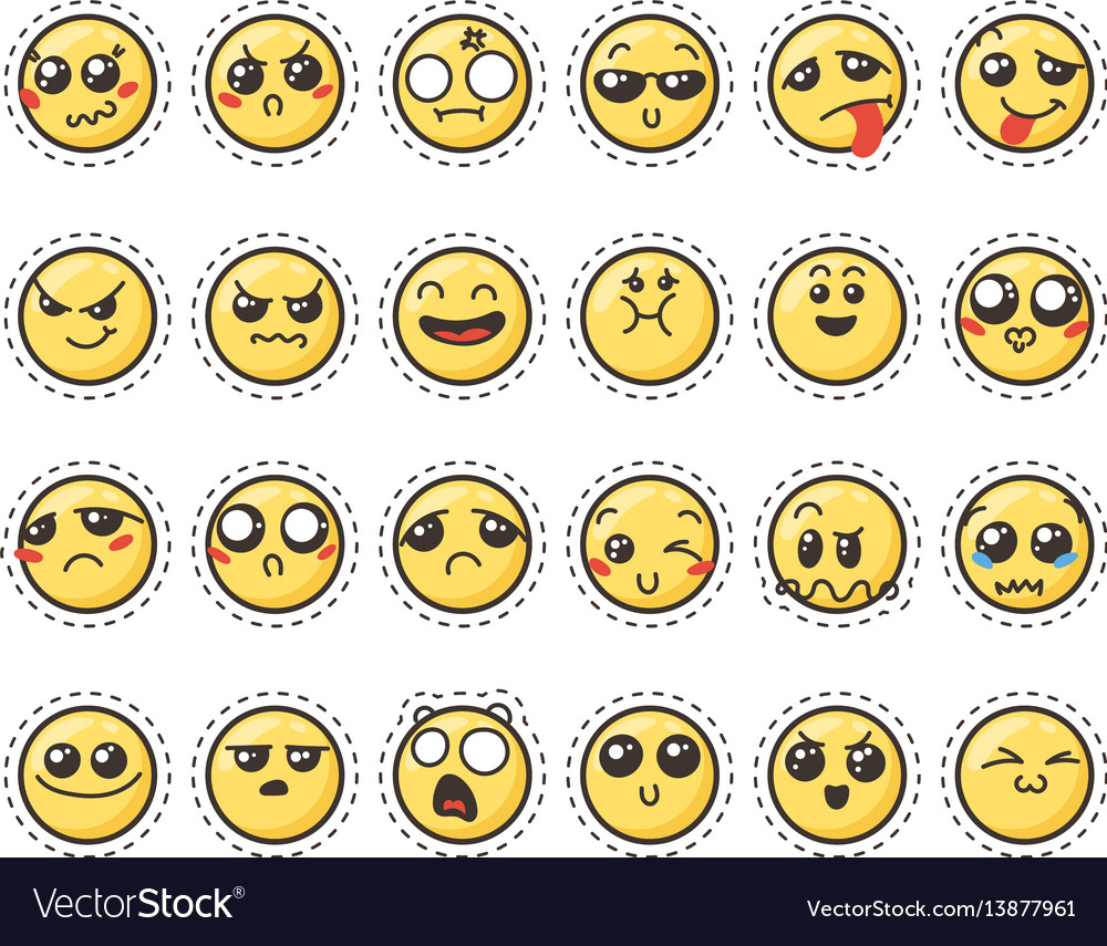 Set of cute lovely kawaii emoticon sticker