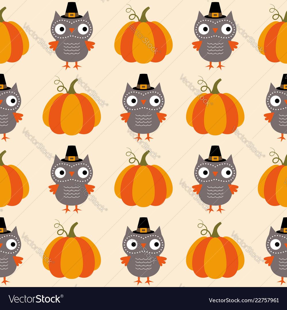 Thanksgiving seamless pattern owls and pumpkins