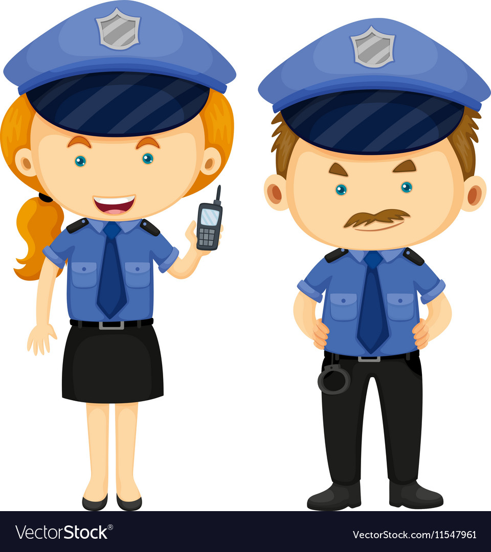 Two police officers in blue uniform