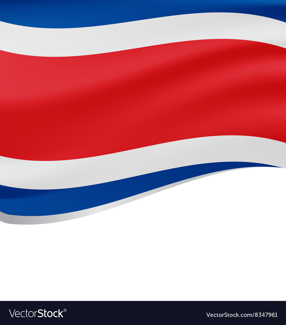 Waving flag of Costa Rica isolated on white vector image