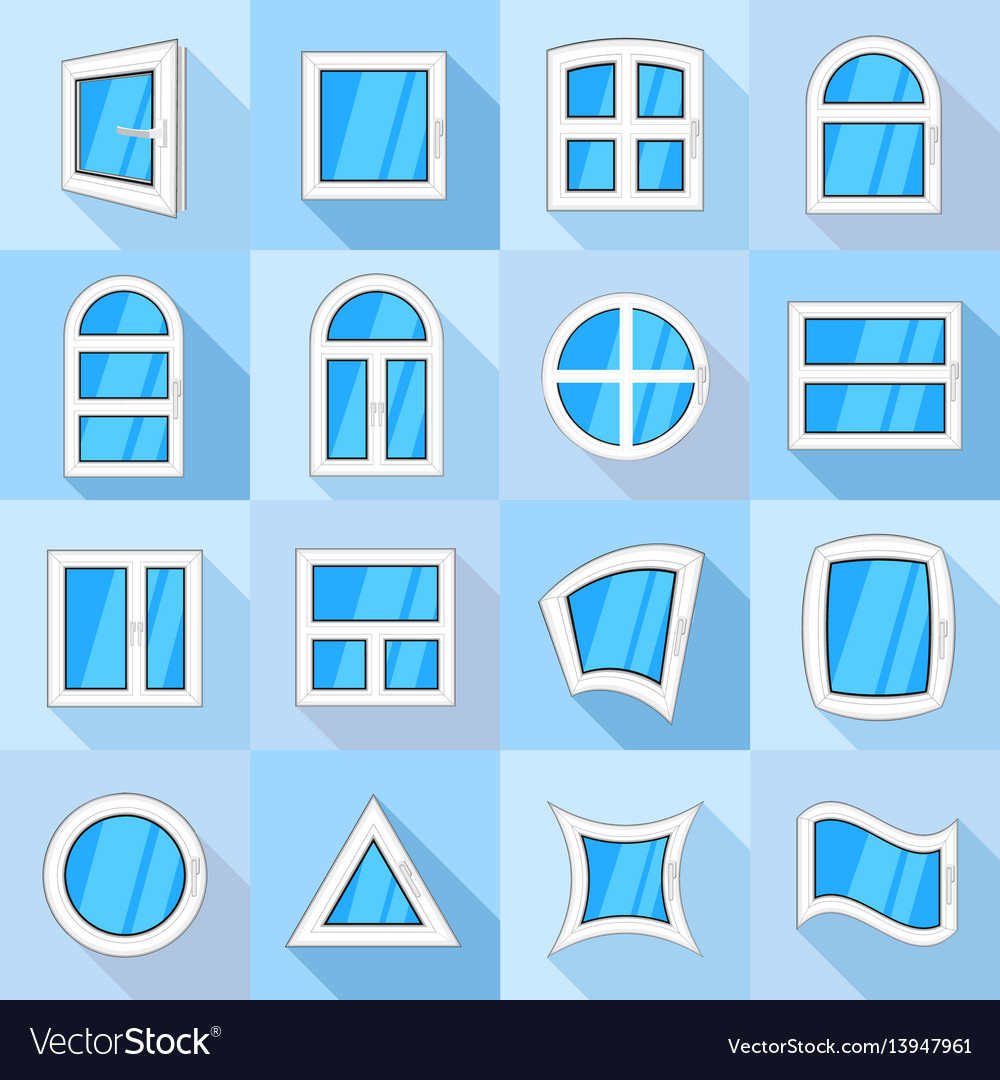 Window forms icons set flat style