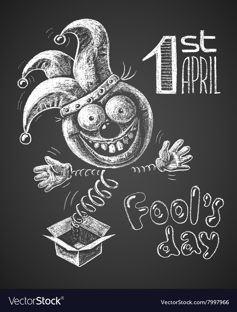 April Fool drawn on chalkboard