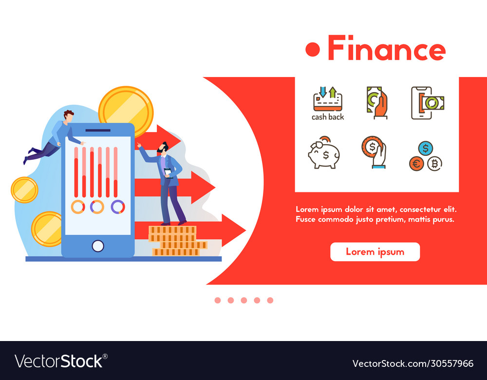 Banner finance with linear icons set vector