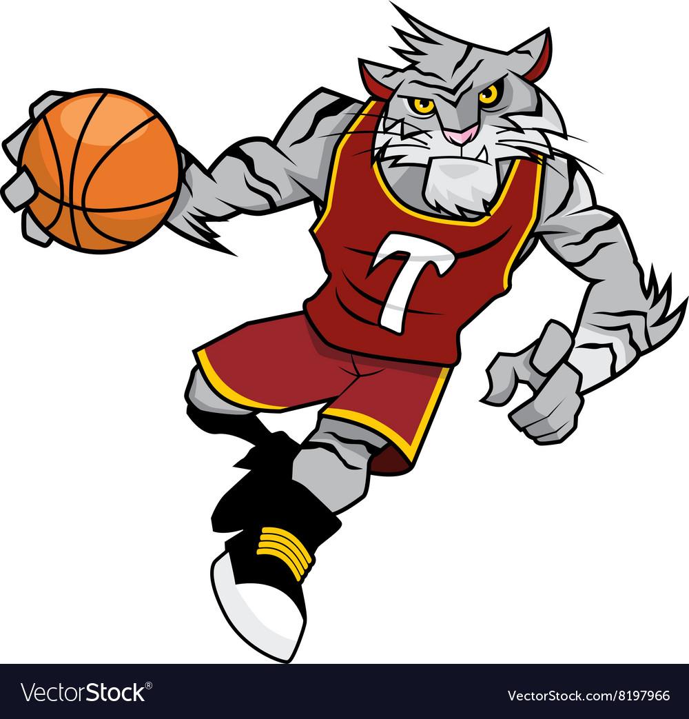 Basket Ball Mascot White Tiger vector image