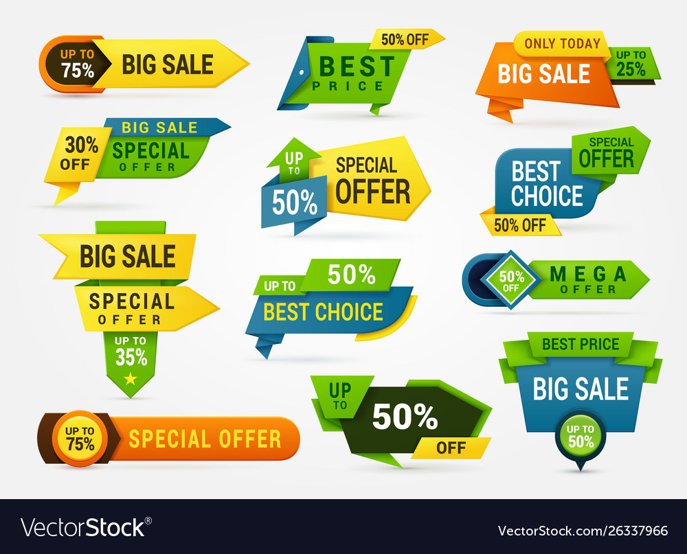 Big sale banner set advertising sticker and card
