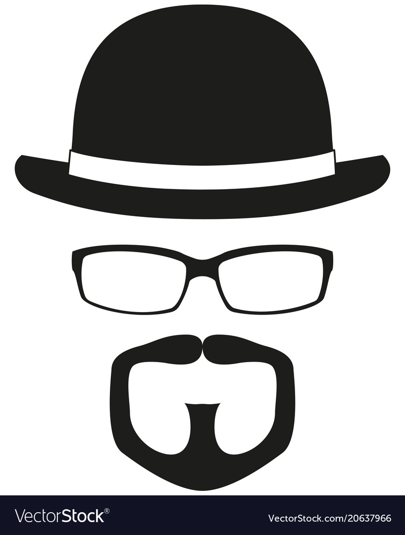 Black and white hipster avatar silhouette
