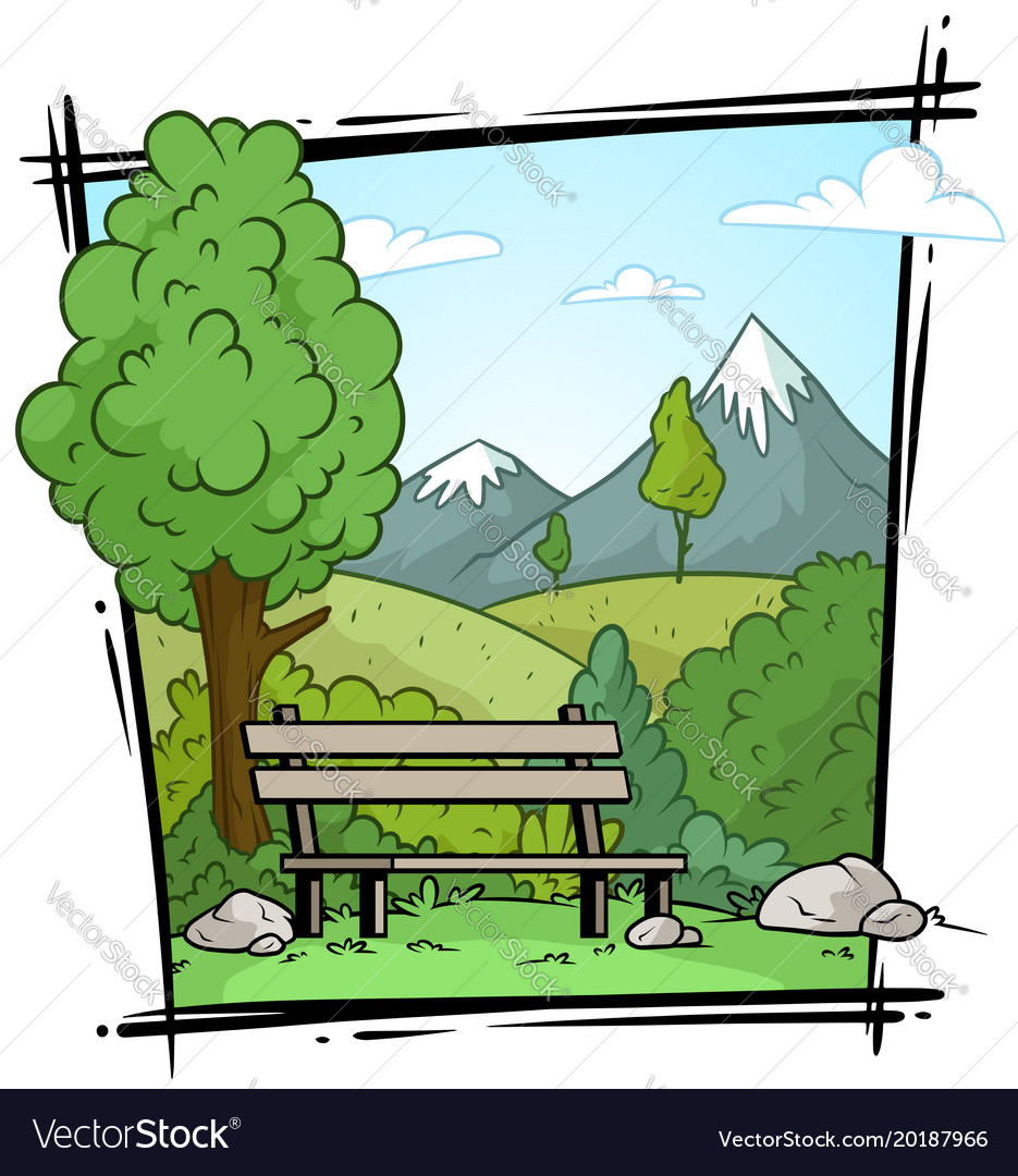 Cartoon nature landscape and bench background