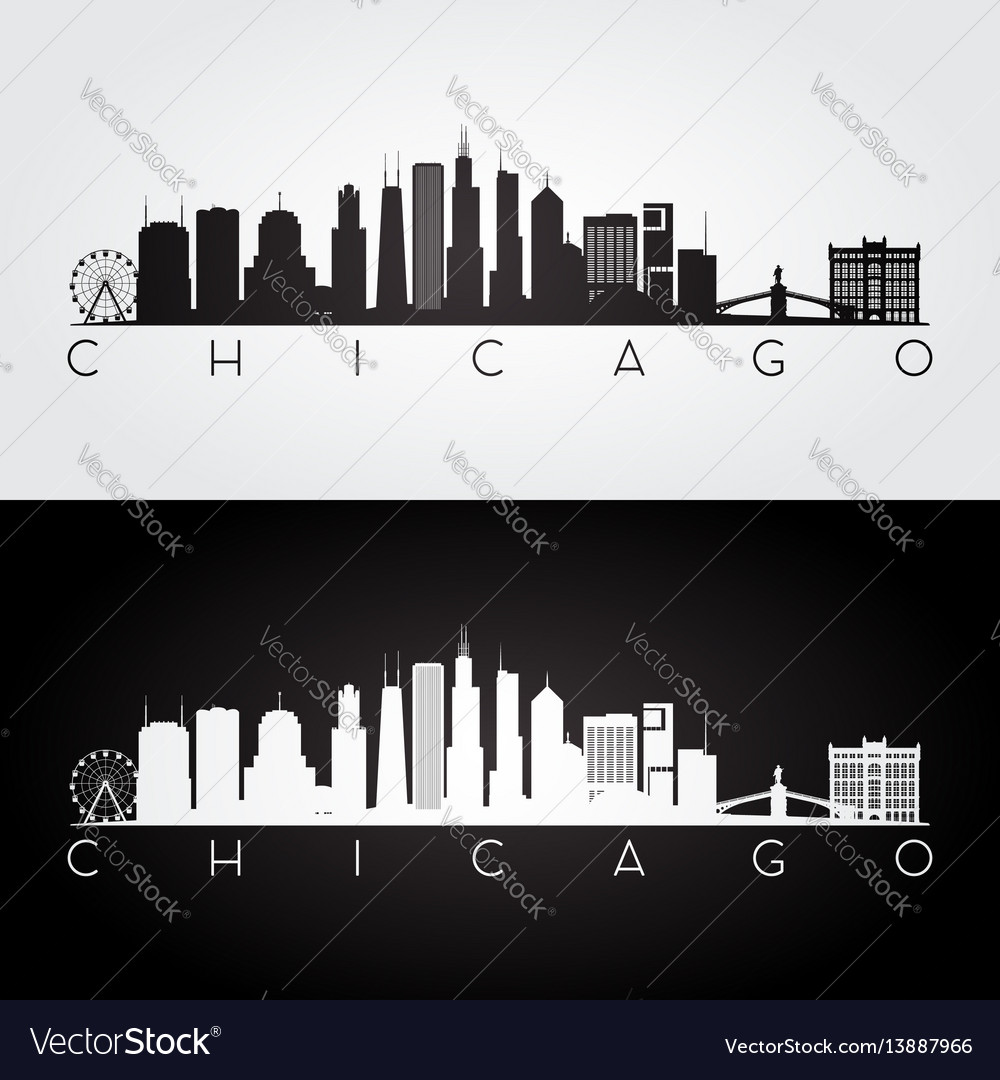 Chicago usa skyline and landmarks silhouette vector image