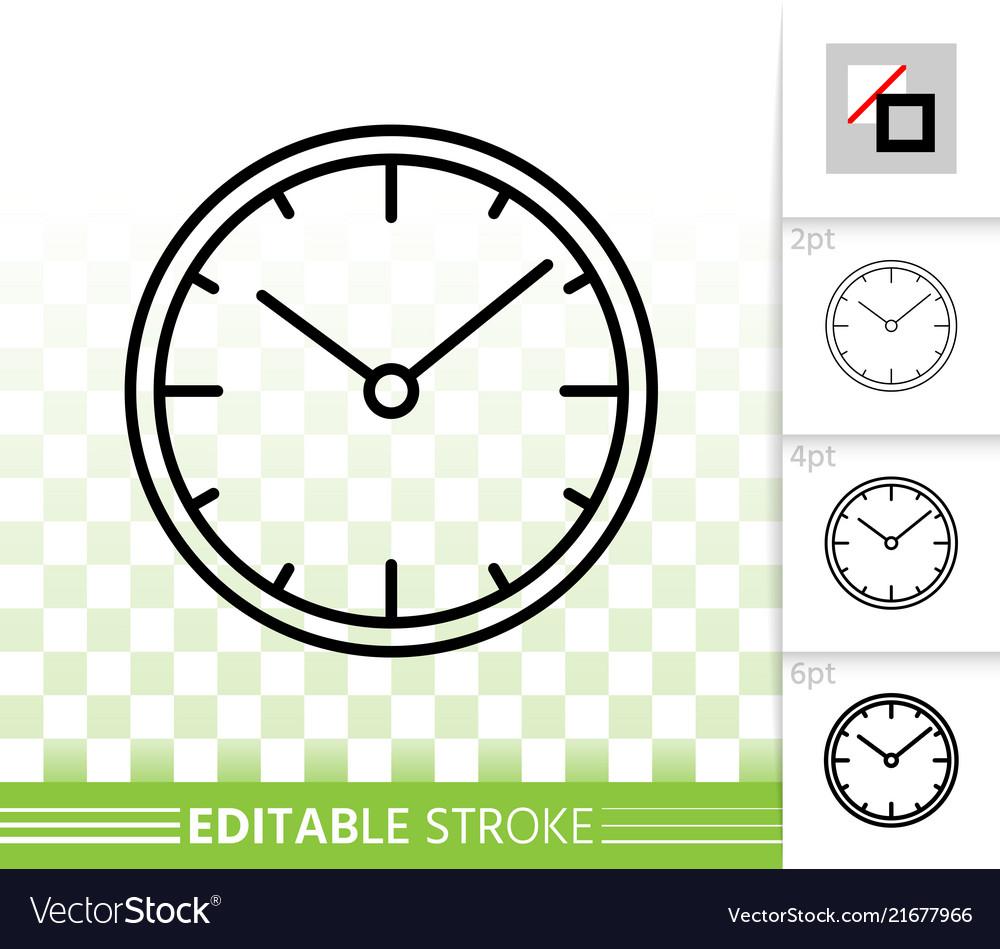 Clock simple black line icon