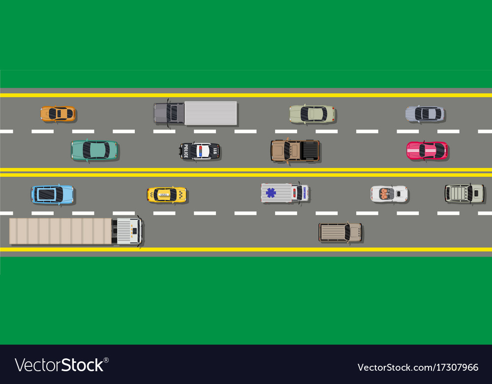 Collection of various vehicles top view road