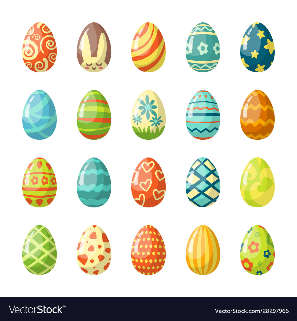 Colorful painted easter eggs flat