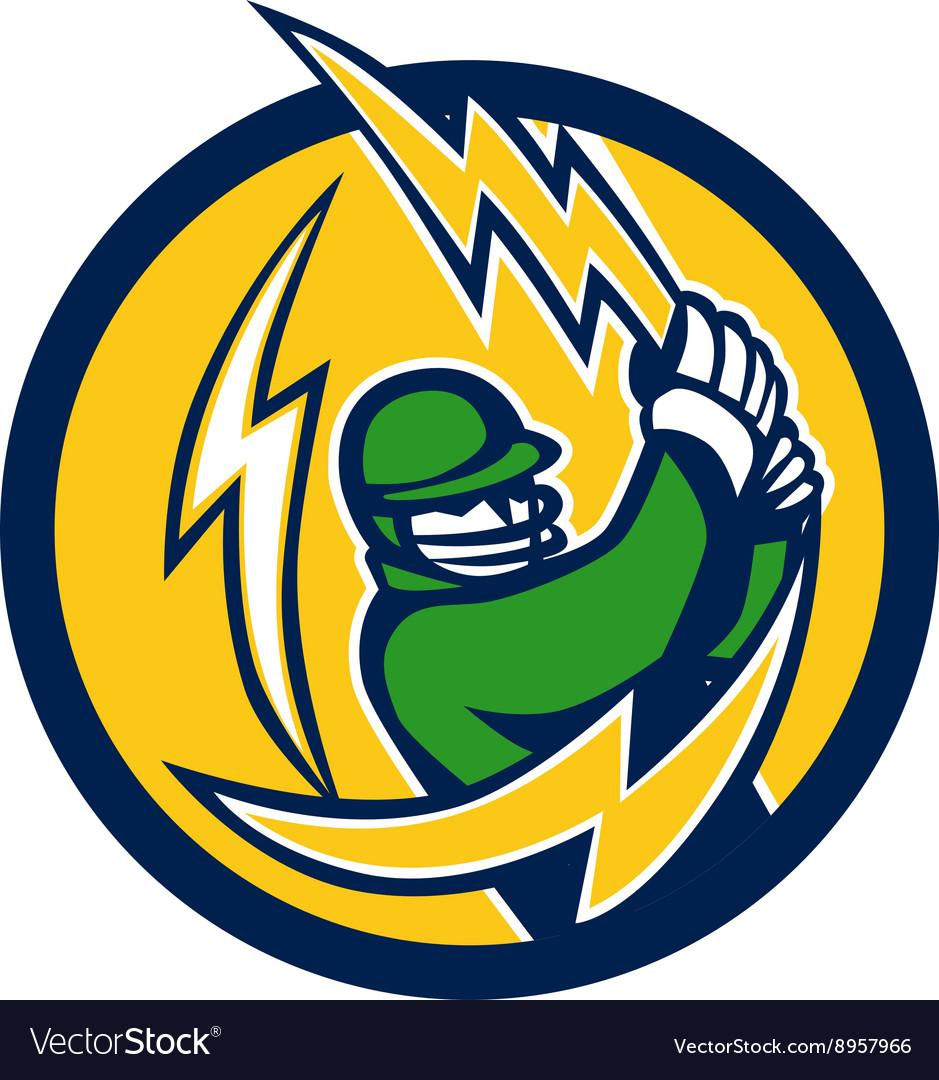 Cricket Player Lightning Bolt Bat Circle Retro vector image