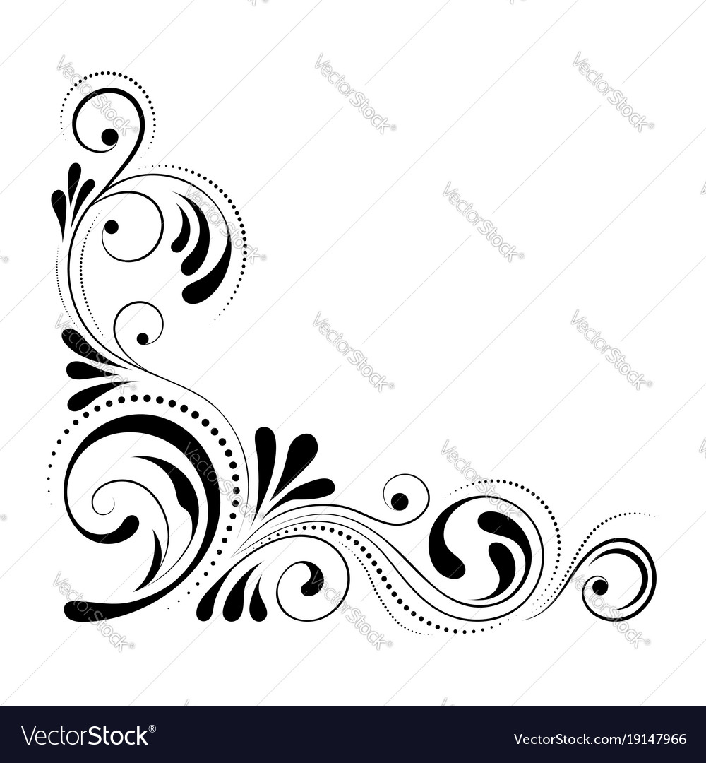 Floral Corner Design Swirl Ornament Isolated On Vector Image