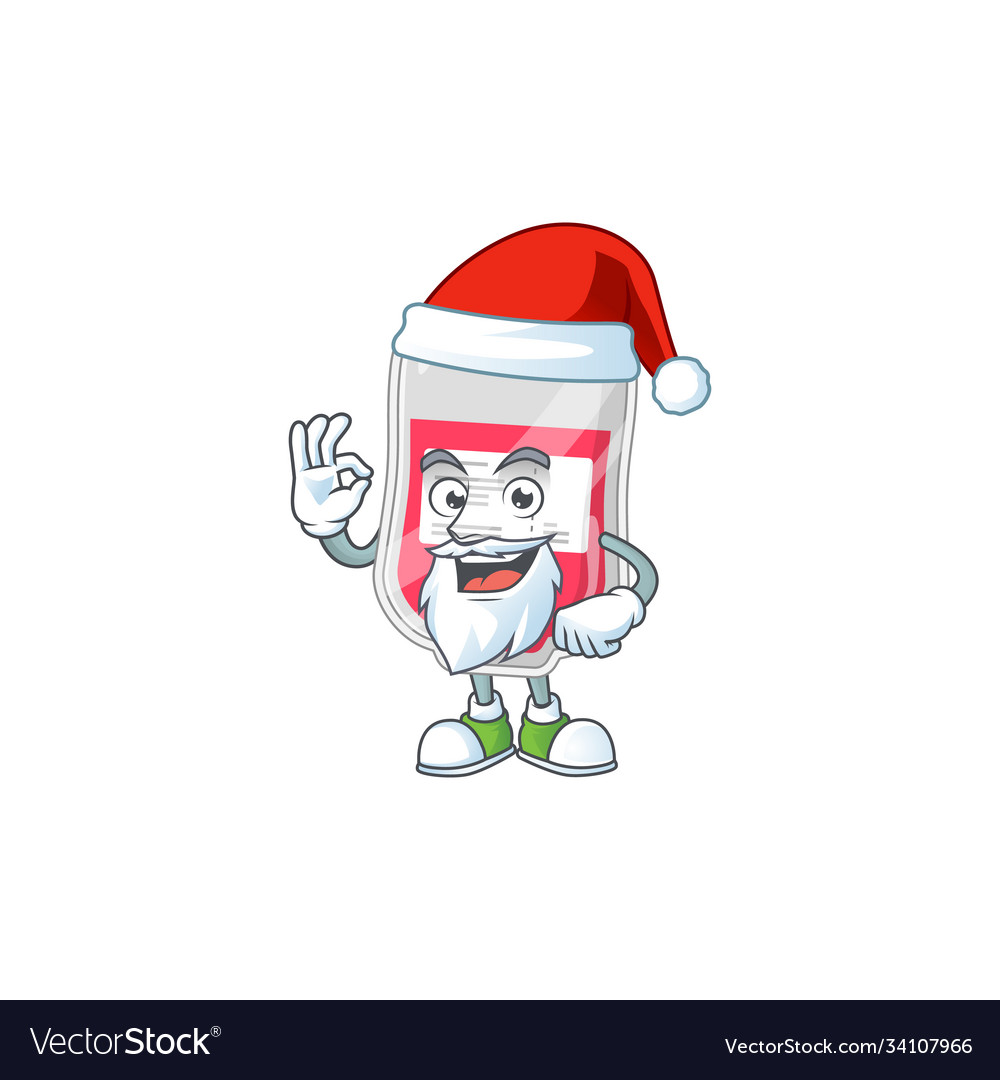 Friendly bag blood santa cartoon with ok finger