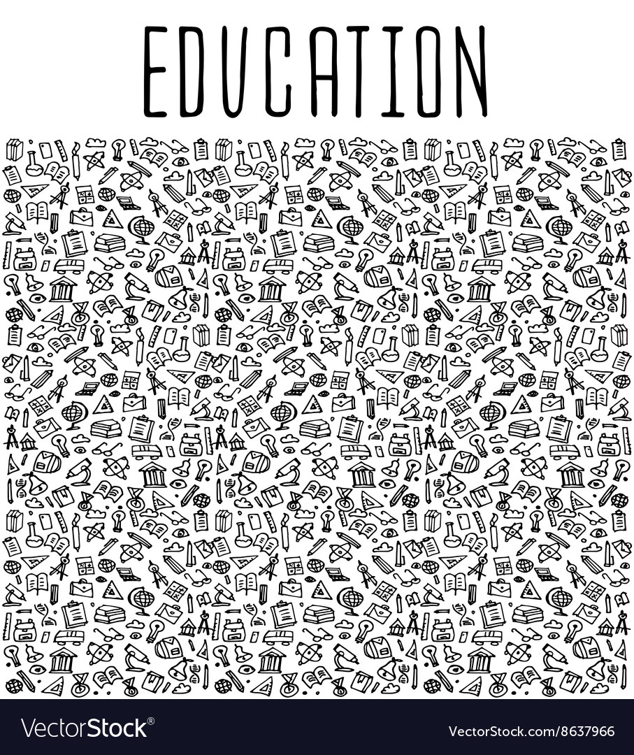 Hand drawn School education seamless pattern vector image