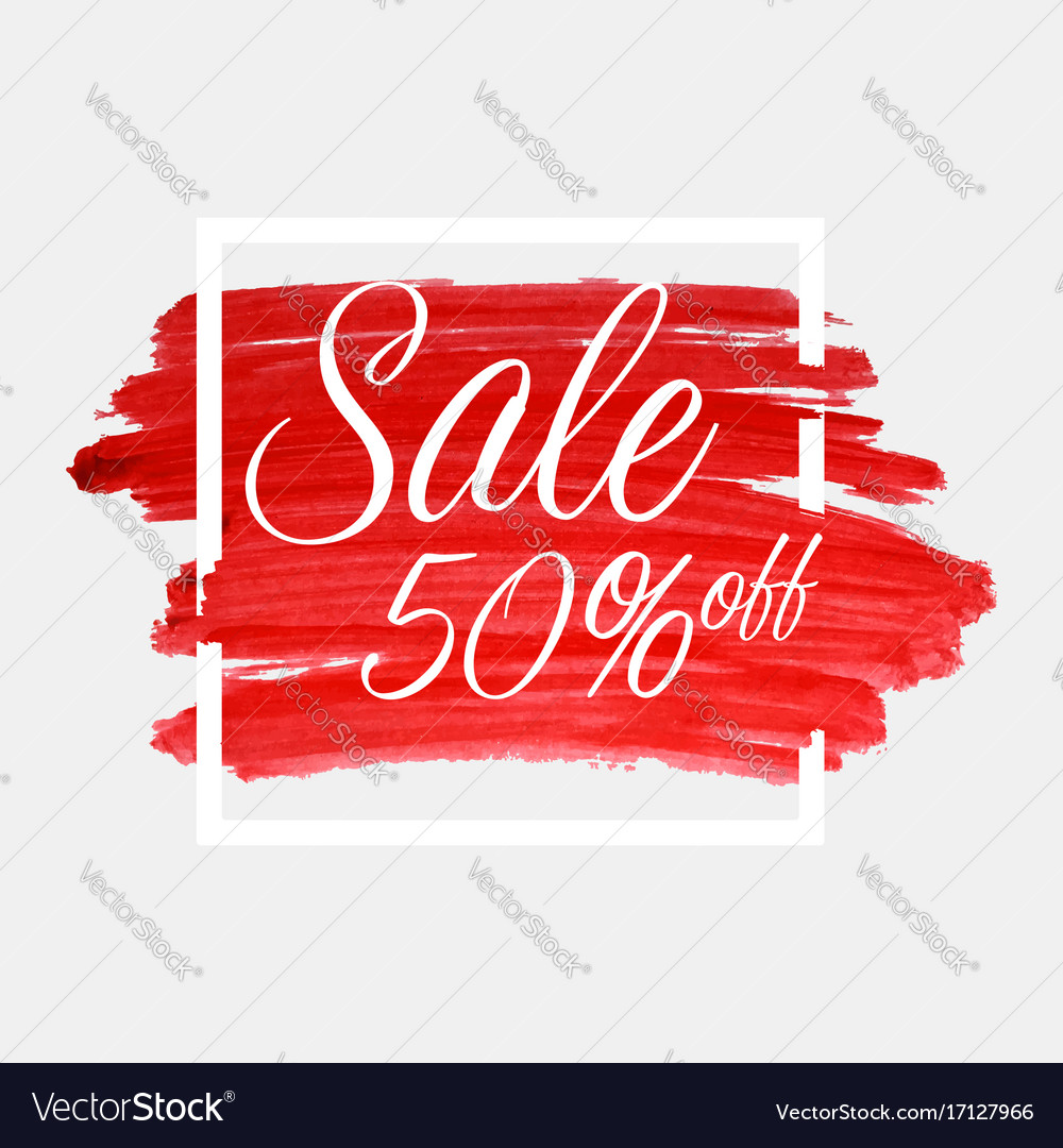 Sale 50 percent off lettering on watercolor
