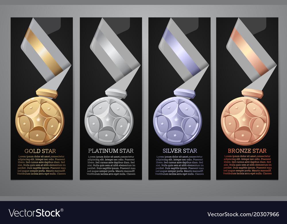 Set of black banner gold platinum silver