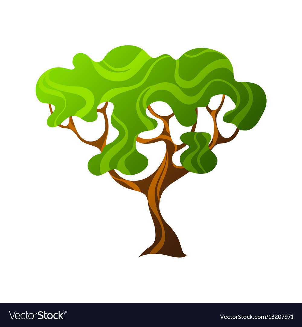 Abstract stylized tree with leaves natural vector image