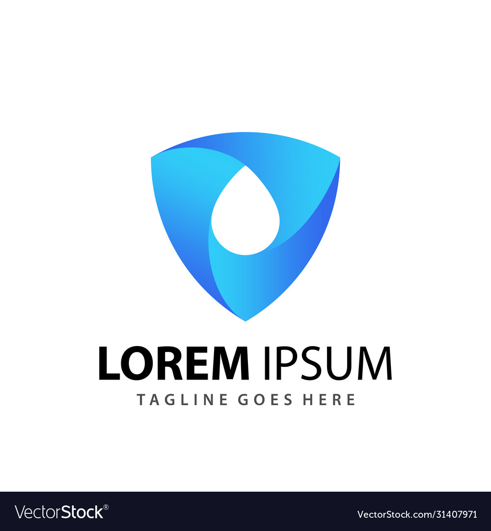Awesome gradient shield water drops logo designs