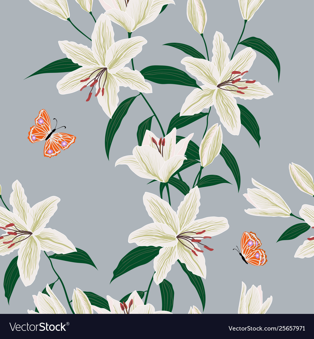 Blooming Lily Flowers Garden Seamless Pattern