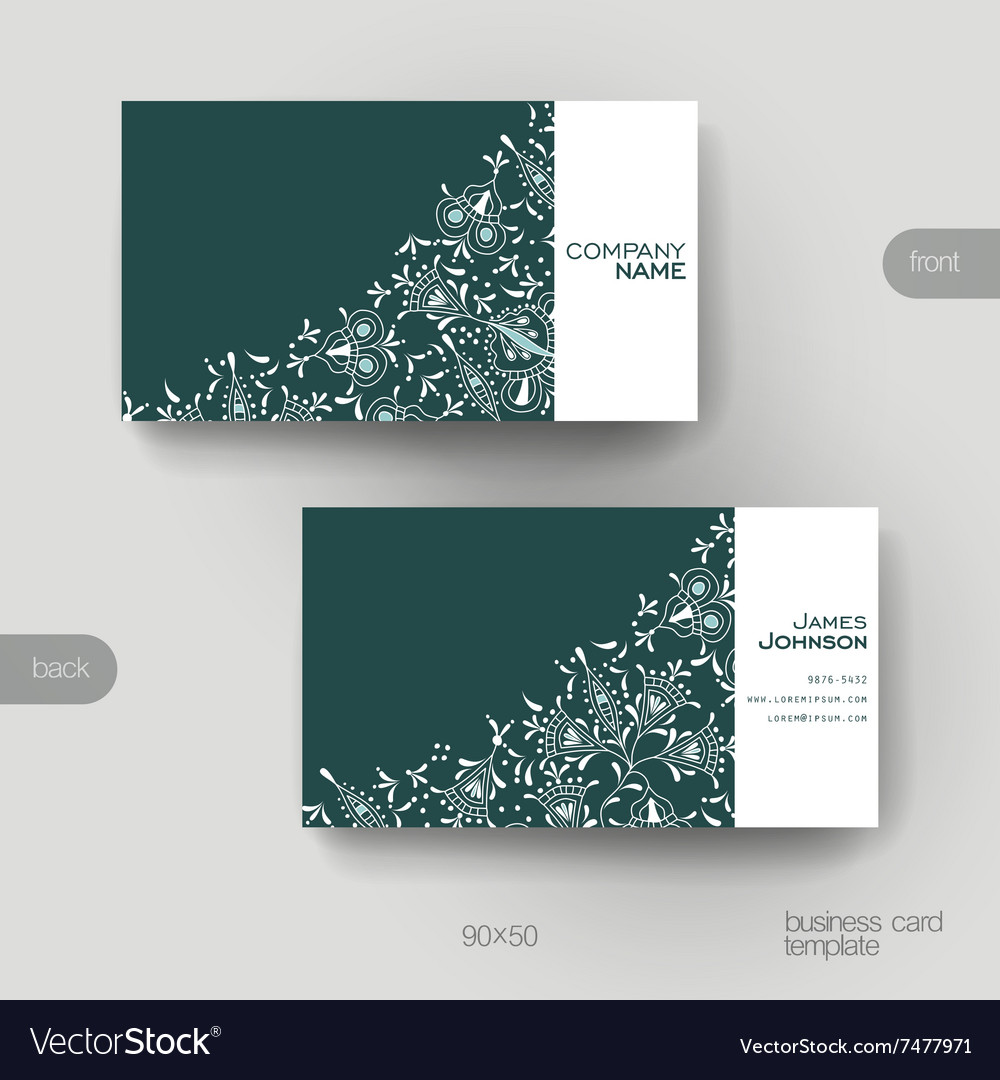 Business card template with floral ornament