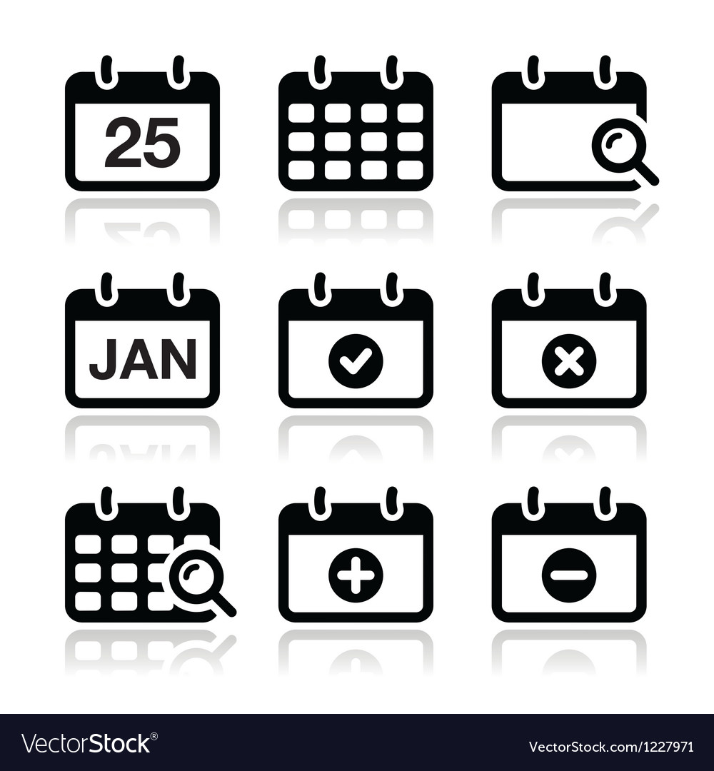 Calendar date icons set vector image