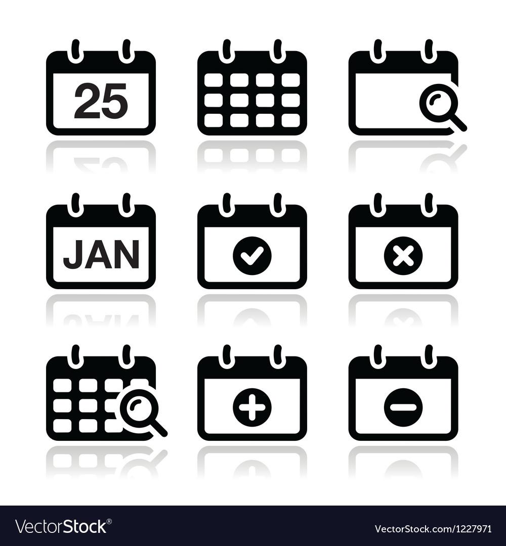 Calendar date icons set