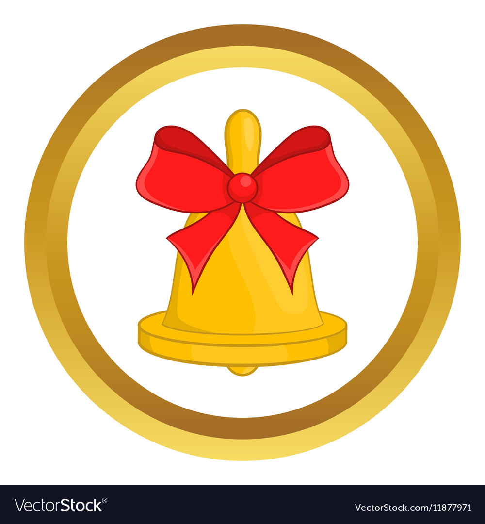 Christmas bell with red bow icon