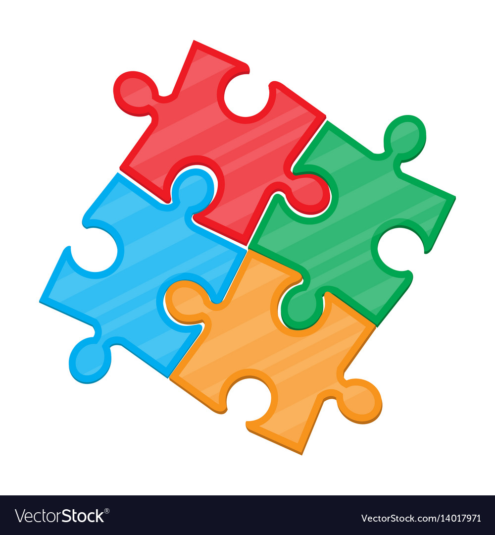Colorful jigsaw puzzle in four pieces