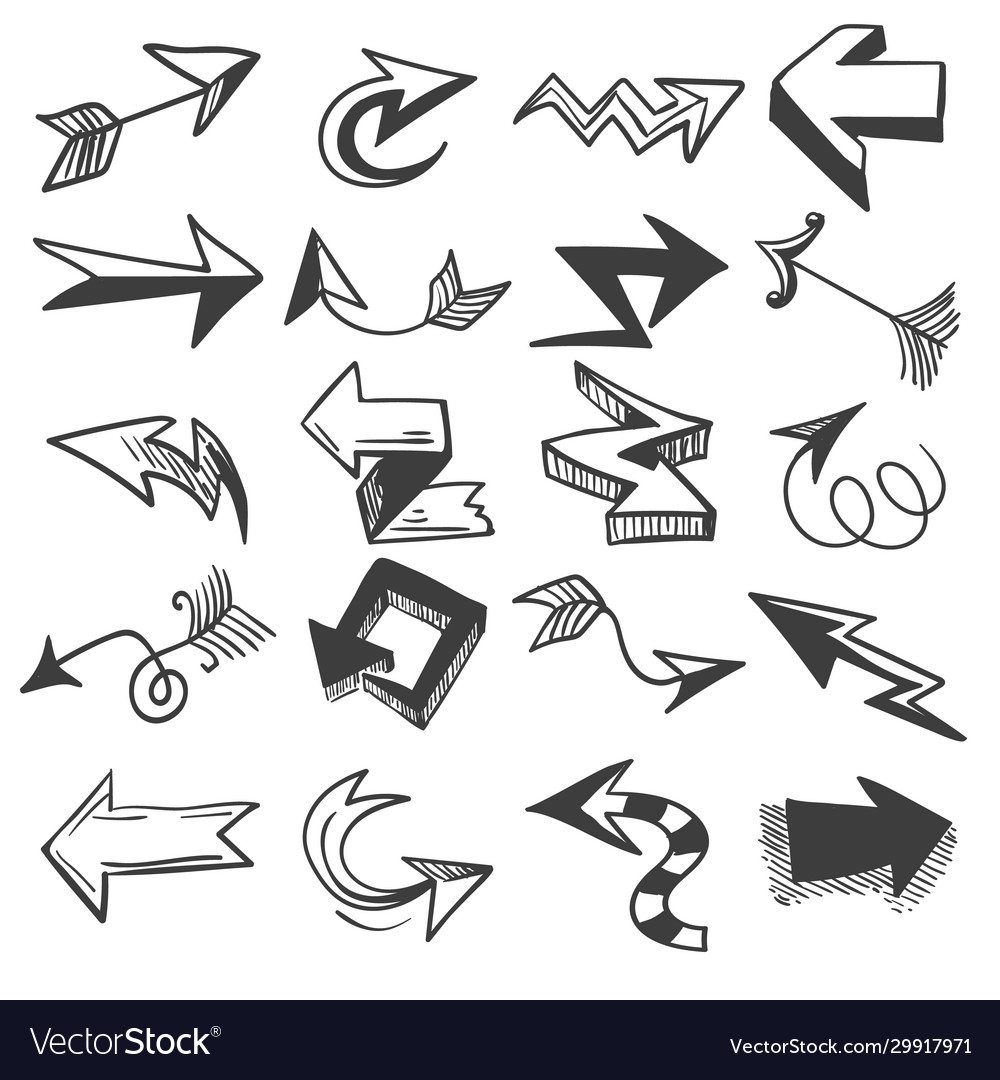Doodle drawing arrow elements