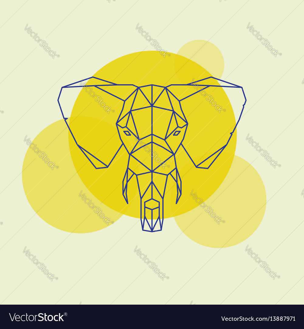 Elephant head geometric lines silhouette
