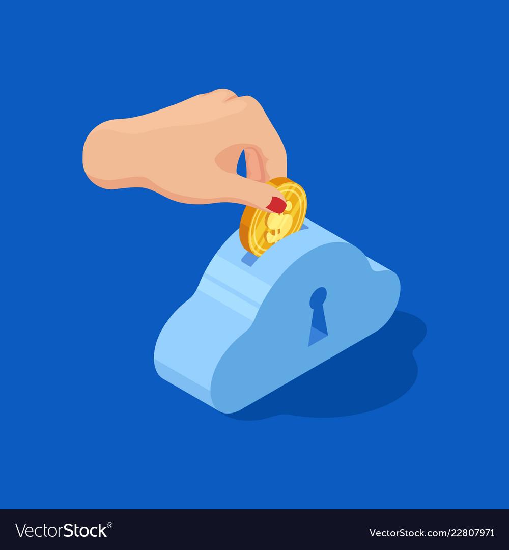 Hand drops dollar into bank save money