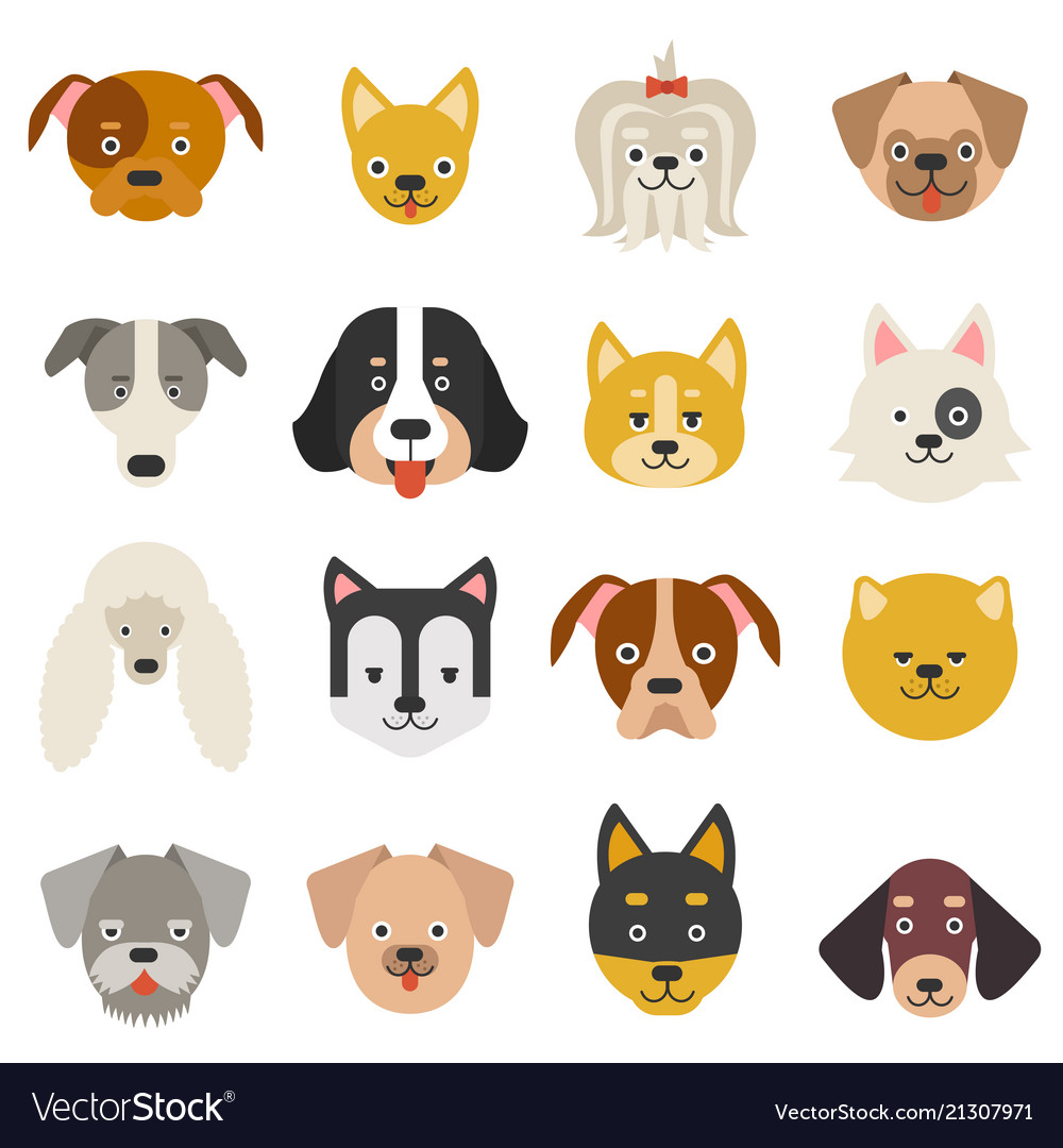 Heads of home pets funny dogs in flat style