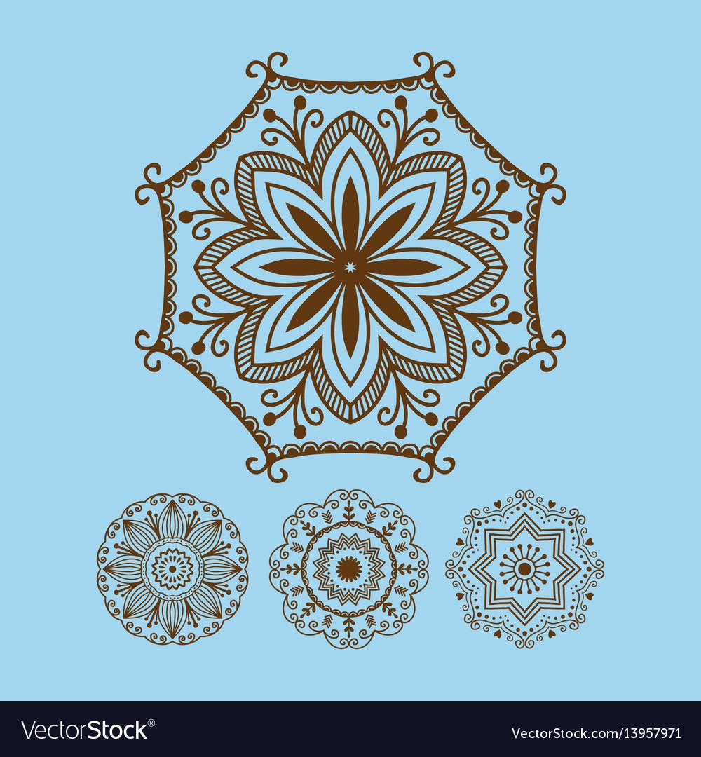 Henna tattoo brown mehndi flower template doodle
