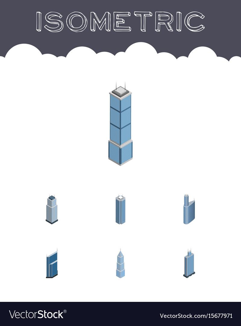 Isometric skyscraper set of exterior business