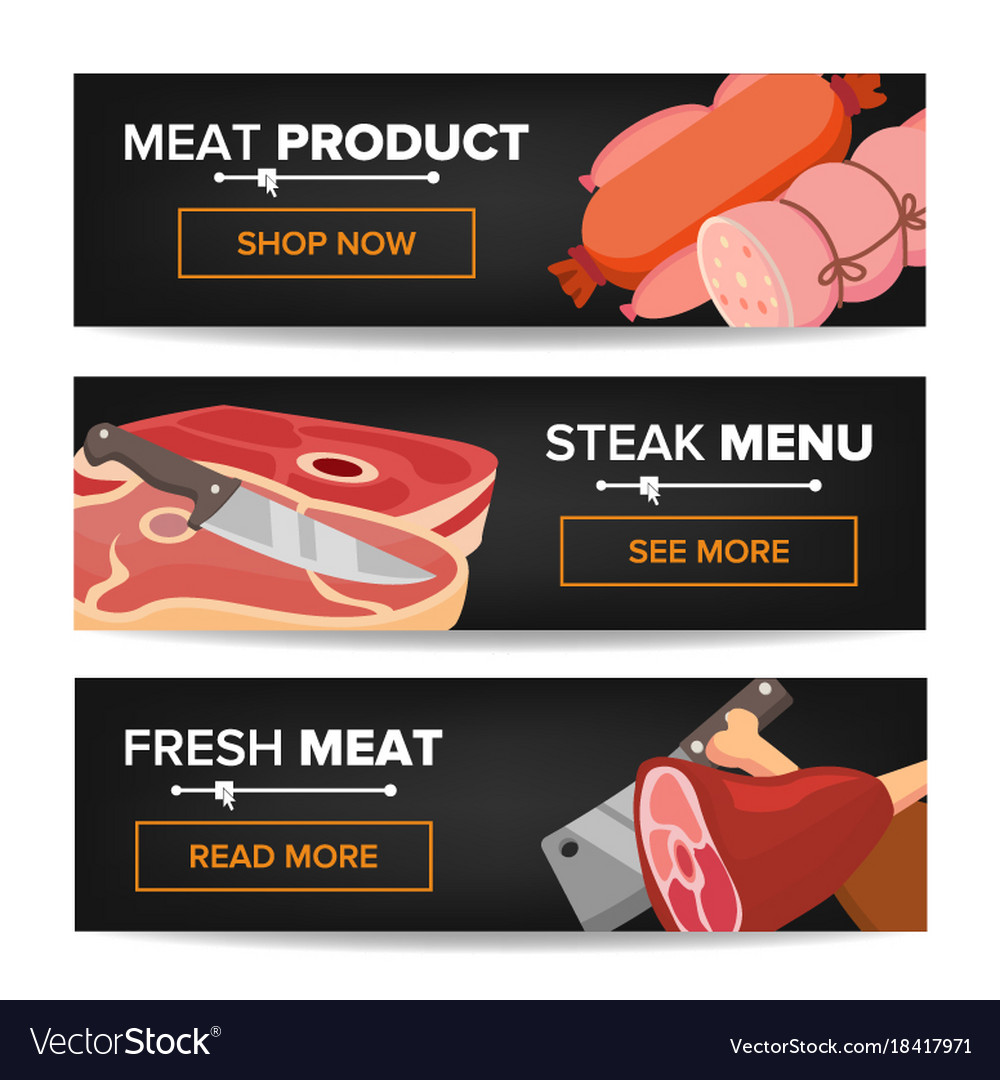 Meat product horizontal promo banners beef vector image
