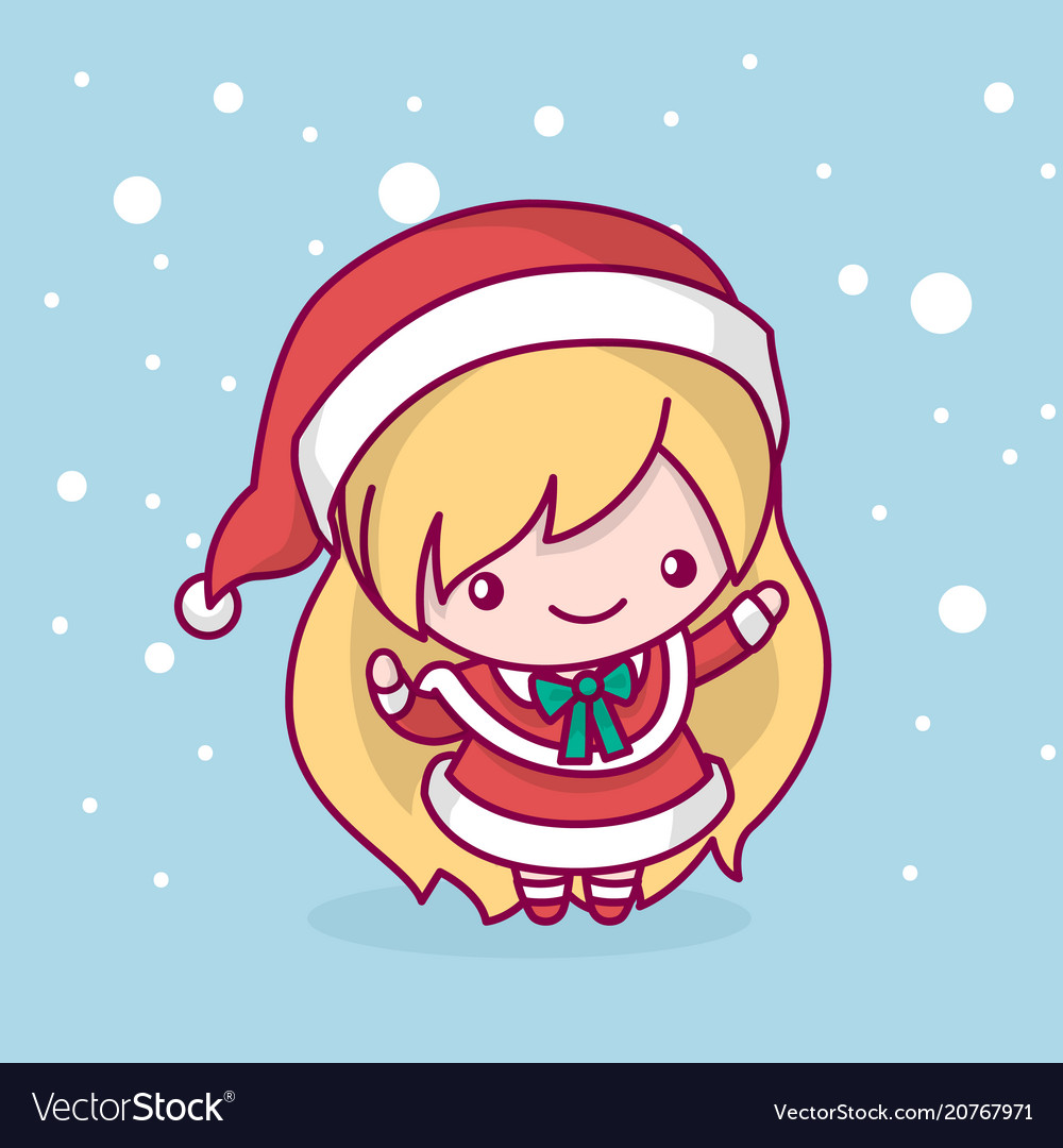 Merry christmas cute kawaii character Royalty Free Vector