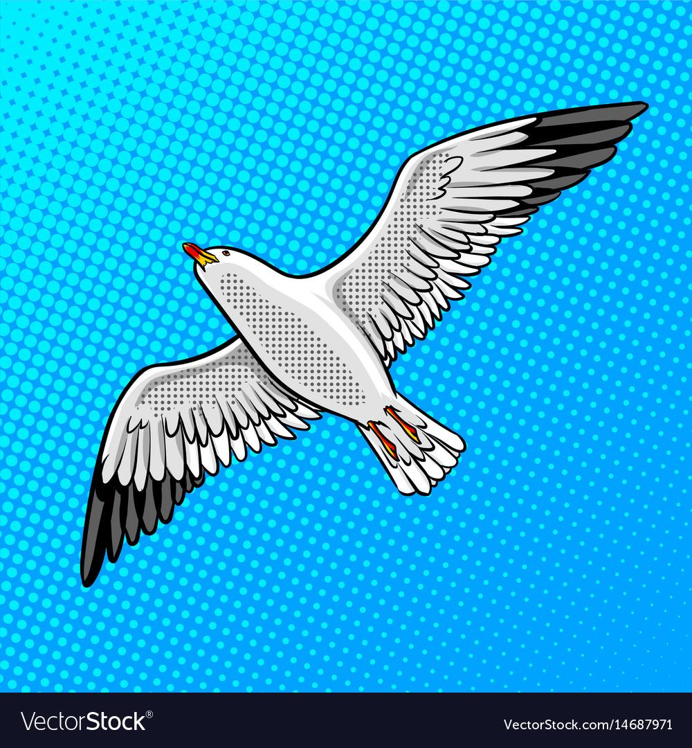 Sea gull bird pop art style