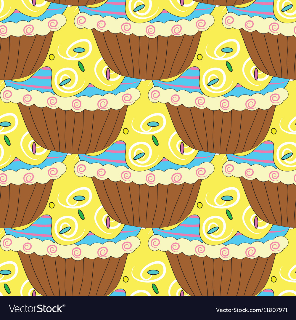 Seamless pattern with pastries and cakes