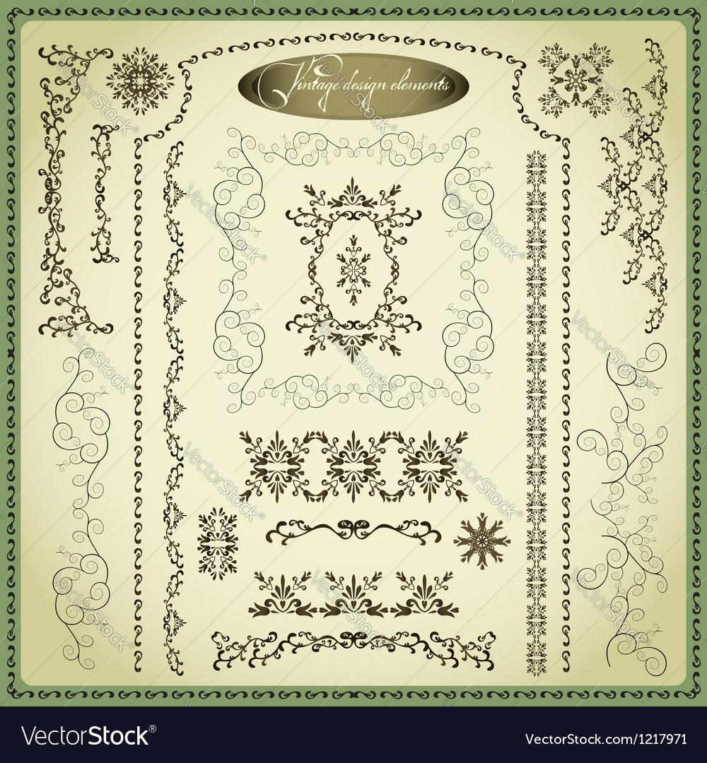 Set of decorative elements for design vintage
