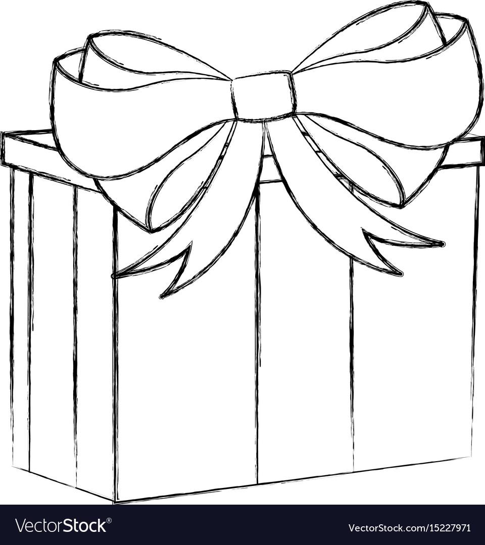 Christmas Cartoon Drawings.Sketch Draw Christmas Gift Cartoon