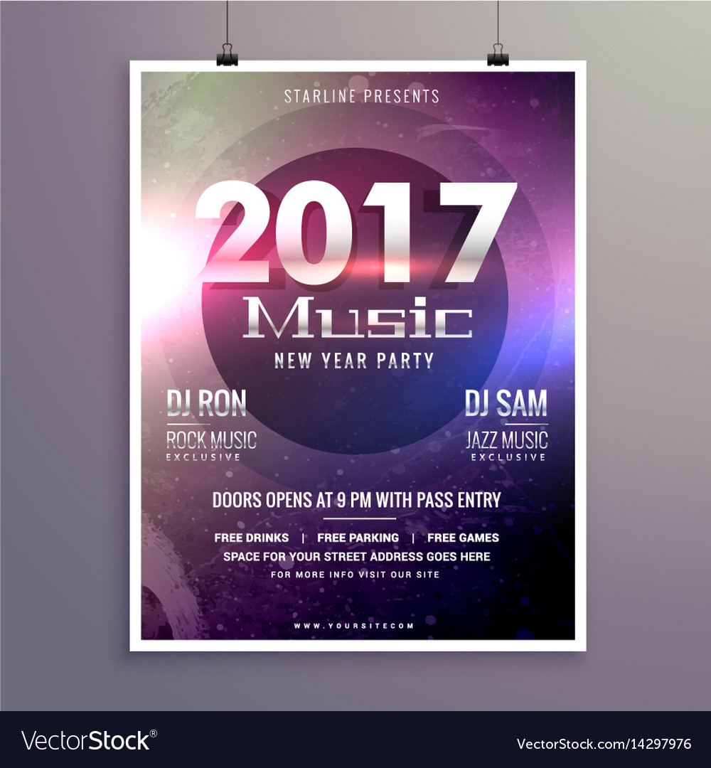 2017 music party flyer template with colorful