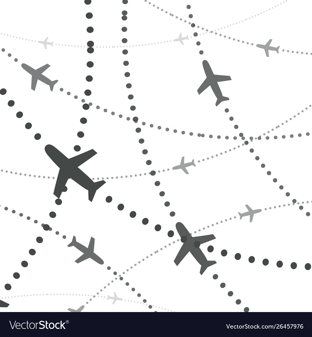 Airplanes pattern planes with dotted path