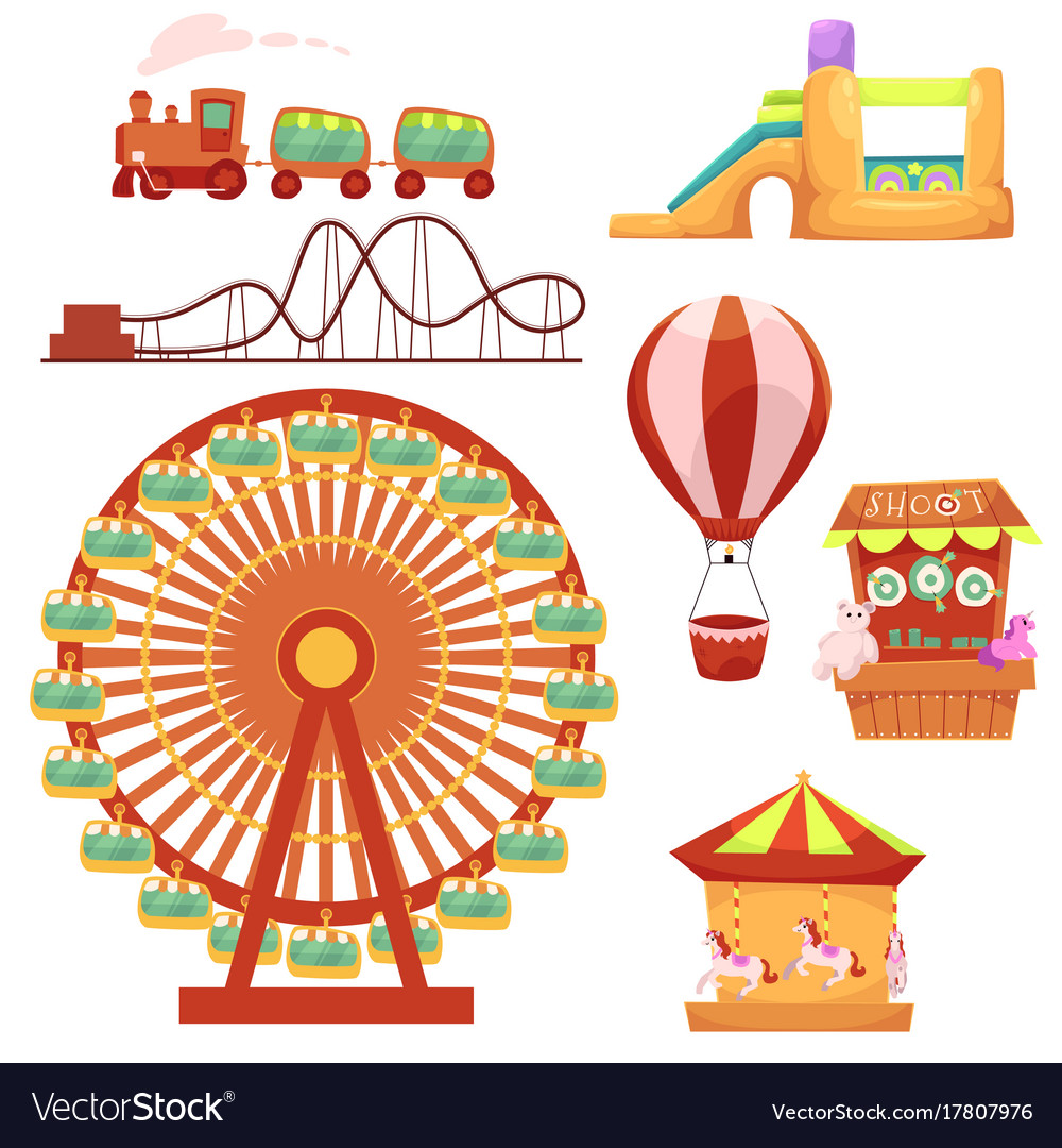 Amusement park set cartoon