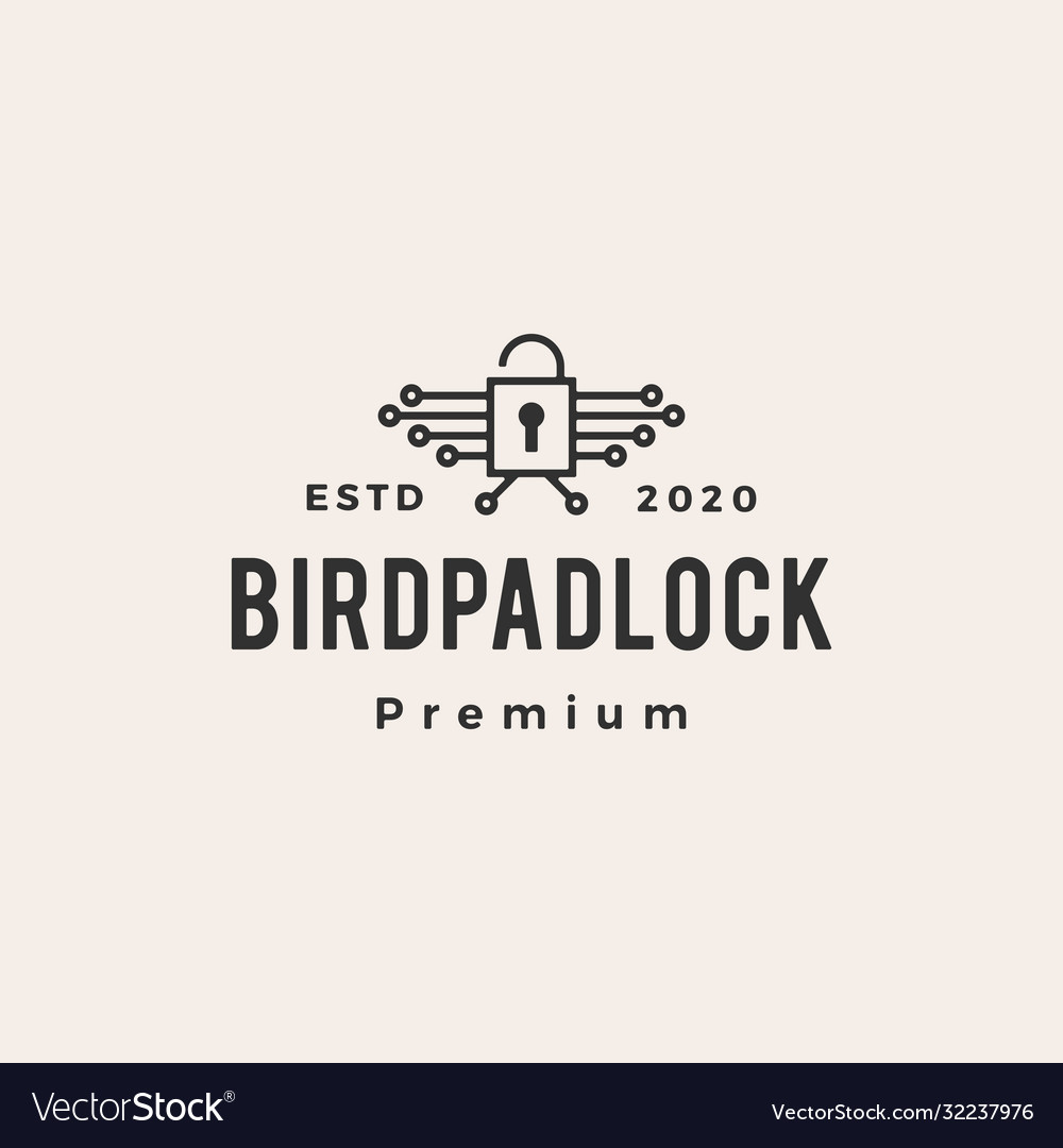 Bird padlock hipster vintage logo icon