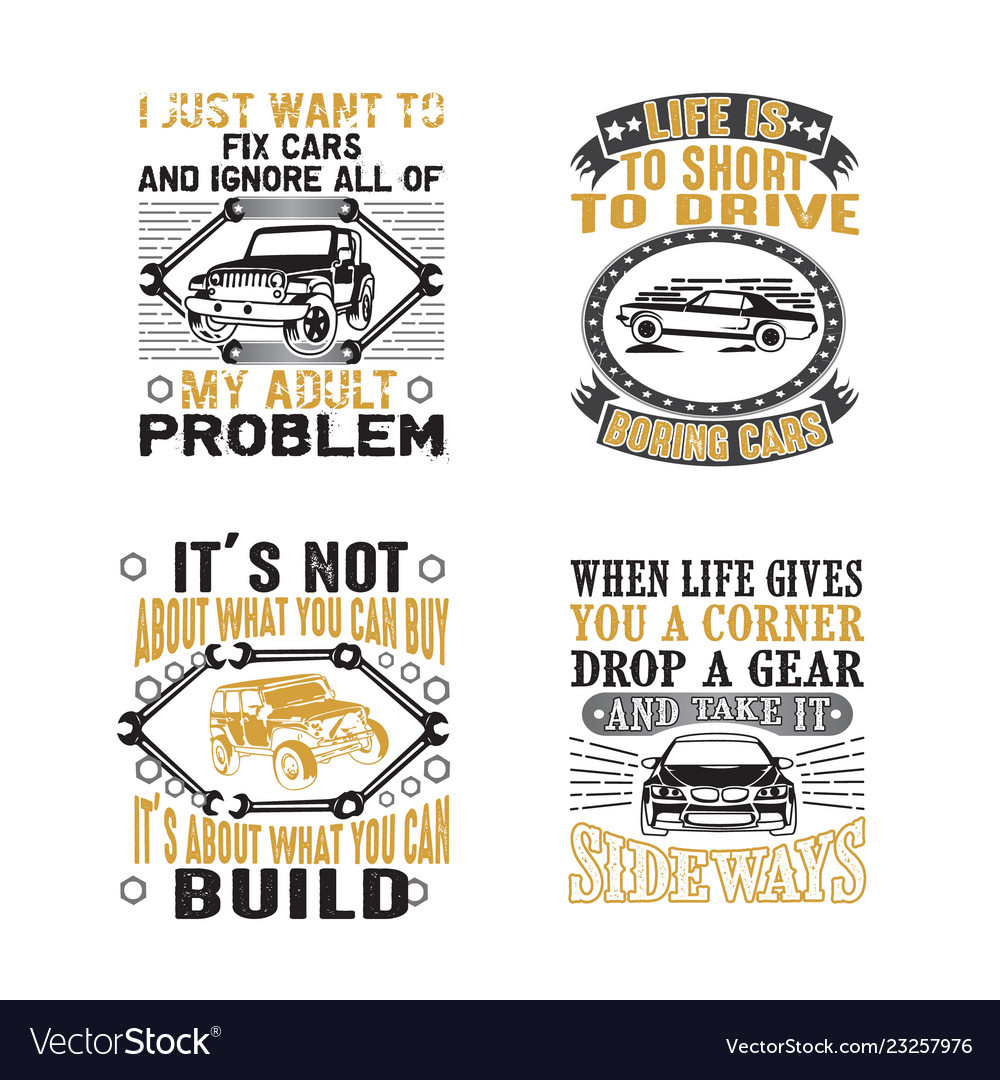 Car quote and saying set bundle best for print