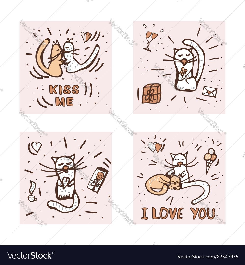 Doodle Set Of Love Symbols Royalty Free Vector Image