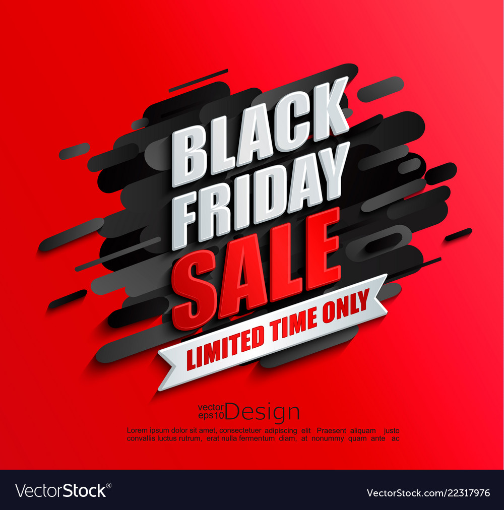 Dynamic black friday sale banner on red background